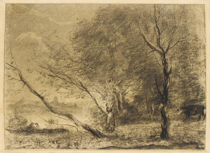 Corot, 'Leaning Trees on the shores of the Lake', 1855–60