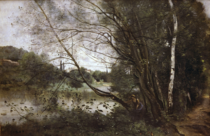 Corot, 'Ville d'Avray. Lake with the Leaning Tree Trunk'