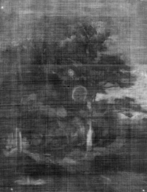 X-ray photograph of Corot, 'Monsieur Pivot on Horseback', about 1853