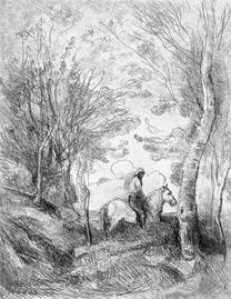 Corot, 'Le grand cavalier sous bois', 1854