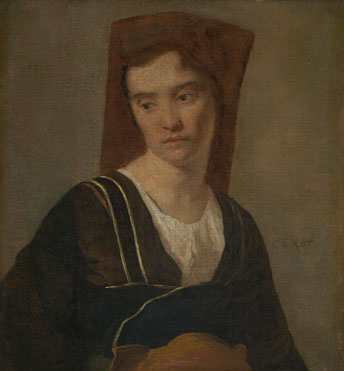 Follower of Jean-Baptiste-Camille Corot: 'A Peasant Woman'