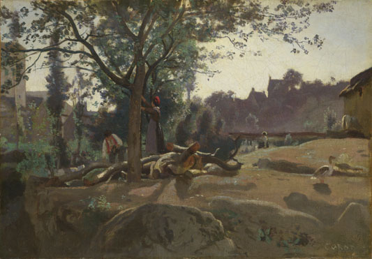 Jean-Baptiste-Camille Corot: 'Peasants under the Trees at Dawn'