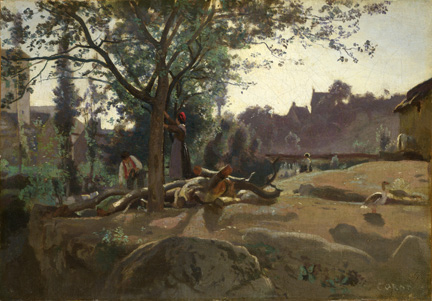 Corot, 'Peasants under the Trees at Dawn', about 1840-5