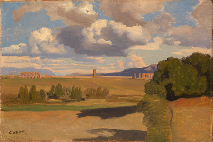 Corot, 'The Roman Campagna, with the Claudian Aqueduct', probably 1826