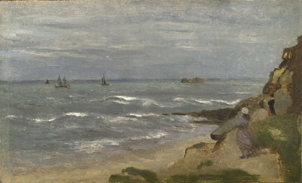 Follower of Jean-Baptiste-Camille Corot: 'Seascape with Figures on Cliffs'