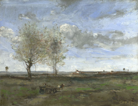 Jean-Baptiste-Camille Corot: 'A Wagon in the Plains of Artois'