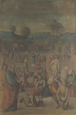 Lorenzo Costa: 'The Story of Moses (The Israelites gathering Manna)'