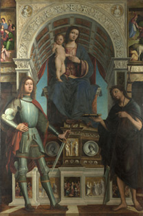 Lorenzo Costa and Gianfrancesco Maineri: 'The Virgin and Child with Saints'.