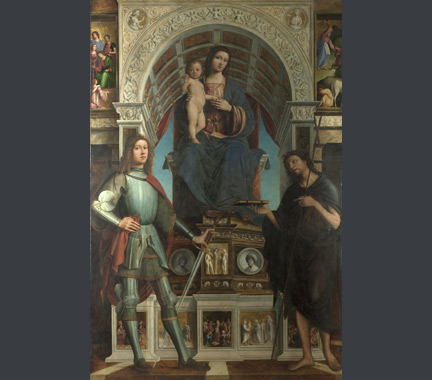 Lorenzo Costa and Gianfrancesco Mainieri: 'The Virgin and Child with Saints'.