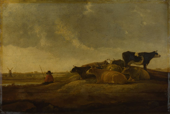 Imitator of Aelbert Cuyp: 'A Herdsman with Seven Cows by a River'