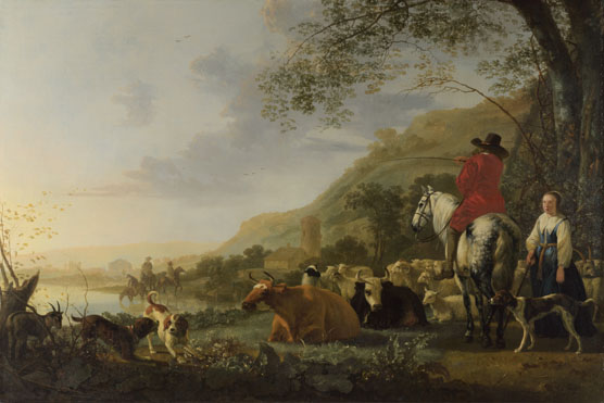 Aelbert Cuyp: 'A Hilly Landscape with Figures'