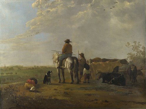 Aelbert Cuyp: 'A Landscape with Horseman, Herders and Cattle'
