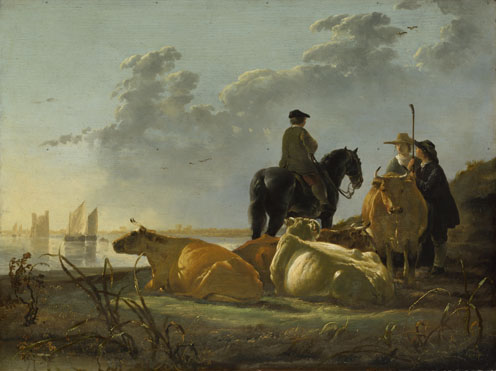 Aelbert Cuyp: 'Peasants and Cattle by the River Merwede'