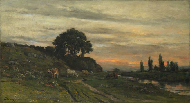 Charles-François Daubigny: 'Landscape with Cattle by a Stream'