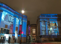 Picasso Projection on Wilkins Building and Sainsbury Wing