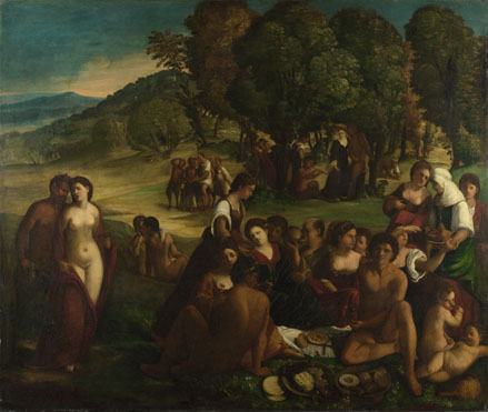 Attributed to Dosso Dossi: 'A Bacchanal'