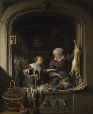 Gerrit Dou: 'A Poulterer's Shop'