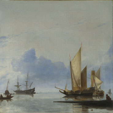 Hendrick Dubbels: 'A Dutch Yacht and Other Vessels Becalmed near the Shore'