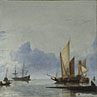 A Dutch Yacht and Other Vessels Becalmed near the Shore