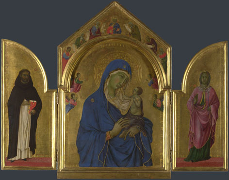 Duccio: 'The Virgin and Child with Saints Dominic and Aurea'