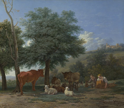 Karel Dujardin: 'Farm Animals with a Boy and Herdswoman'