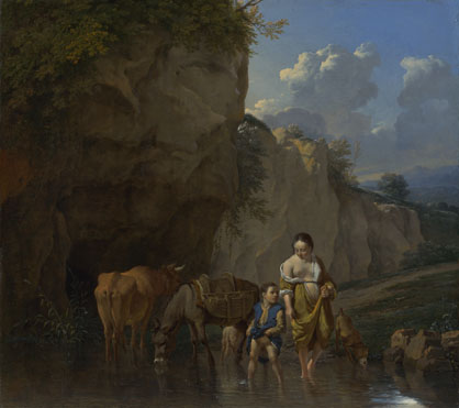 Karel Dujardin: 'A Woman and a Boy with Animals at a Ford'