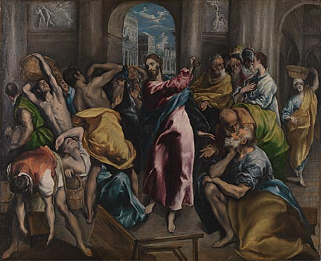 El Greco, 'Christ driving the Traders from the Temple', about 1600