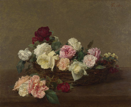 Ignace-Henri-Théodore Fantin-Latour: 'A Basket of Roses'