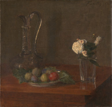 Ignace-Henri-Théodore Fantin-Latour: 'Still Life with Glass Jug, Fruit and Flowers'