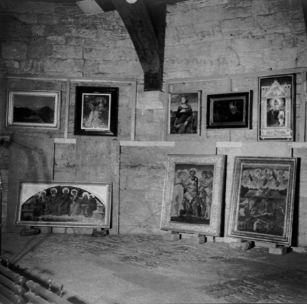 Paintings  stored on the lower floor of the Eagle Tower, Caernarvon Castle during  the Second World War, prior to transfer to Manod Quarry in 1941