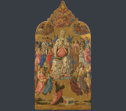 fig. 1 Matteo di Giovanni, 'The Assumption of the Virgin', probably 1474, tempera and gold on wood, 331.5 x 174 cm, NG 1155