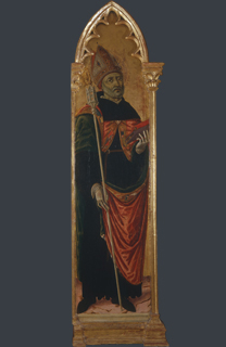 fig. 16  Matteo di Giovanni, Saint Augustine, Tempera and gold on panel, 197 x 47 cm (including original frame), Museo di Palazzo Corboli, Asciano