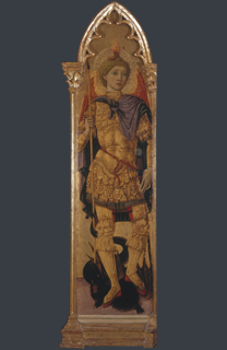 fig. 23  Matteo di Giovanni, 'Saint Michael the Archangel', Tempera and gold on panel, 196 x 47 cm (including original frame), Museo di Palazzo Corboli, Asciano