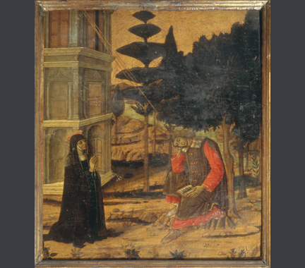 fig. 41  Matteo di Giovanni, 'Saint Monica praying for the Conversion of her son Augustine', 1474, Tempera on panel, 42 x 38.9 cm. Berenson Collection, Villa I Tatti, Florence (P 26)