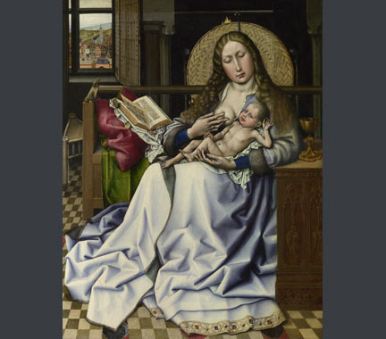 Follower of Robert Campin, 'The Virgin and Child before a Firescreen', about 1440