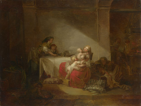 Attributed to Jean-Honoré Fragonard: 'Interior Scene'