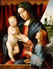 Francesco Francia, 'The Virgin and Child with an Angel', about 1490. Carnegie Museum of Art, Pittsburgh