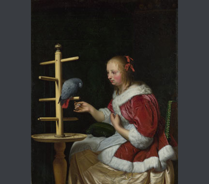 Frans van Mieris the Elder, 'A Woman in a Red Jacket feeding a Parrot', about 1663