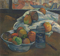 Paul Gauguin 'Bowl of Fruit and Tankard before a Window', probably, 1890