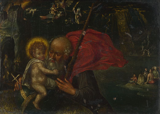 German: 'Saint Christopher carrying the Infant Christ'