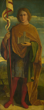 Attributed to Gerolamo da Santacroce: 'A Saint with a Fortress and a Banner'