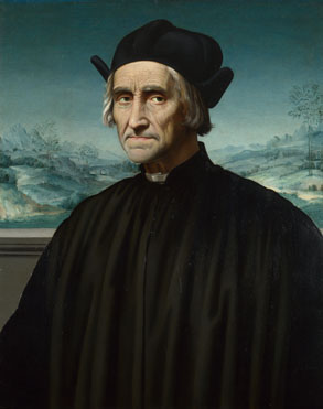 Attributed to Ridolfo Ghirlandaio: 'Portrait of Girolamo Benivieni'