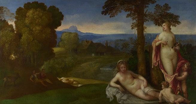 Imitator of Giorgione: 'Nymphs and Children in a Landscape with Shepherds'