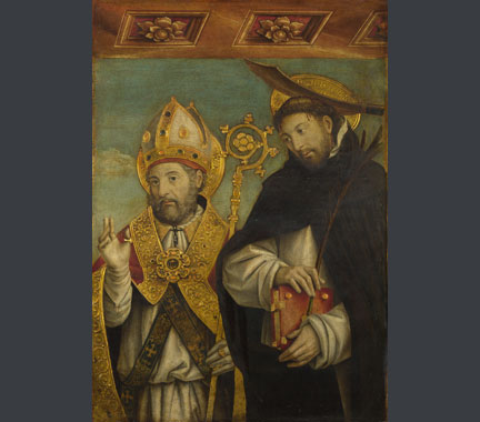 Giovanni Martino Spanzotti, 'Saint Peter Martyr and a Bishop Saint (Saint Evasio?)', 1496-1500