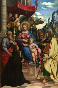 Girolamo da Treviso: 'The Madonna and Child with Angels, Saints and a Donor'