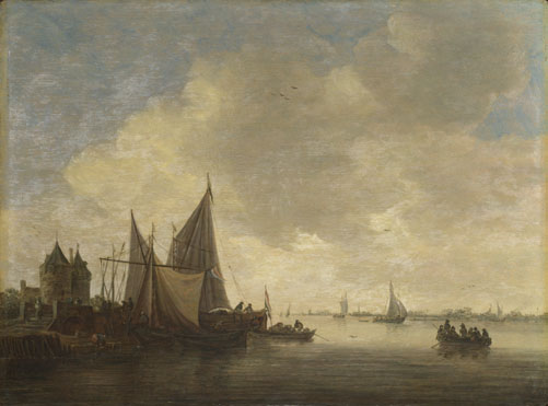 Jan van Goyen: 'The Mouth of an Estuary with a Gateway'