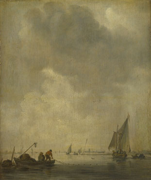 Jan van Goyen: 'A River Scene, with Fishermen laying a Net'