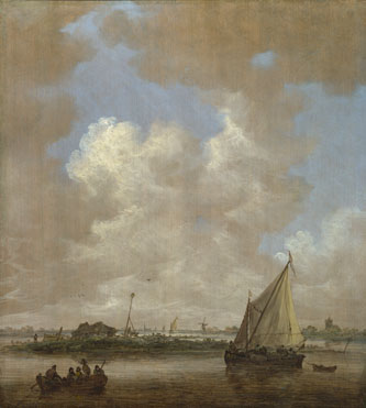 Jan van Goyen: 'A River Scene, with a Hut on an Island'
