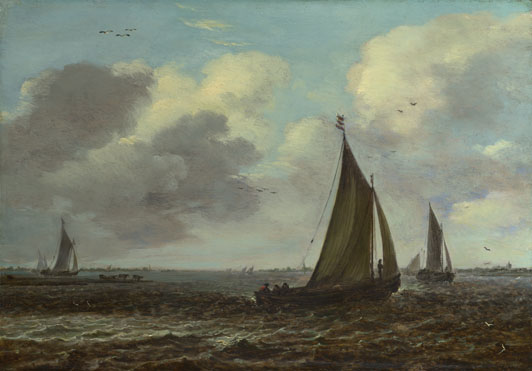 Imitator of Jan van Goyen: 'Sailing Vessels on a River in a Breeze'