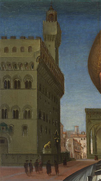 Attributed to Francesco Granacci: Detail of background showing Palazzo Vecchio from 'Portrait of a Man in Armour'.